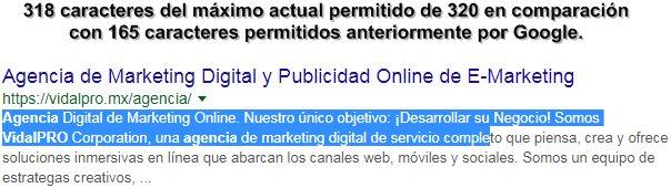 Descripción de la Agencia VidalPRO Corp. en los resultados de Google.
